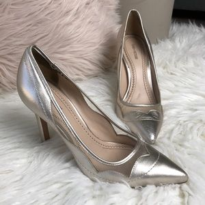 🔥Metallic high heels pointed toe mesh gold silver
