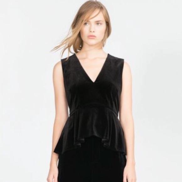 cbd0cdab08b0d9 Zara Black Velvet Peplum Sleeveless Top