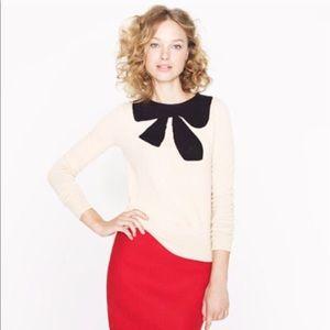 J. crew black bow cream color sweater S