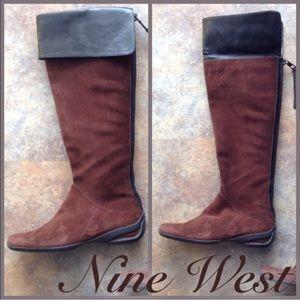 NEW NINE WEST tall two tone OTK boot brown black 6