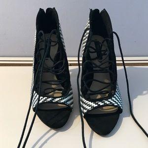 zara lace up heels on Poshmark