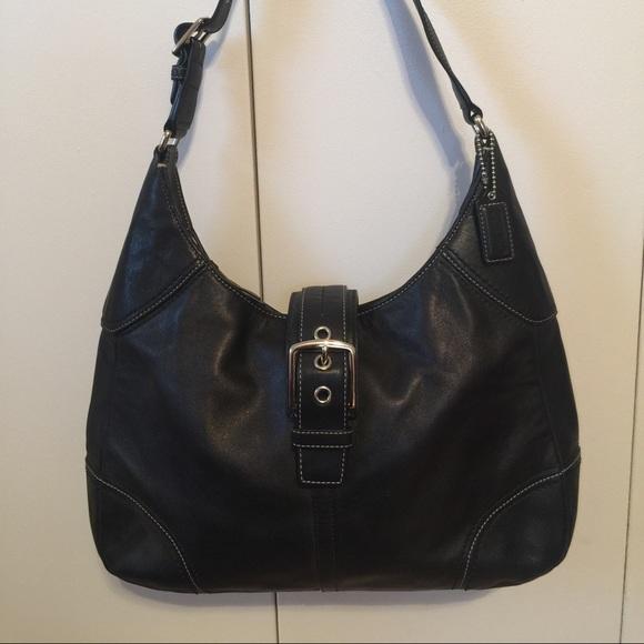 c297b3f8caa Coach Handbags - COACH Black Leather Buckle front Small Hobo Purse
