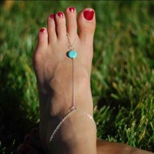 Jewelry - silver turquoise foot chain anklet