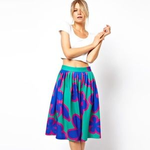 ASOS Green Midi Skirt in Oversized Floral Print