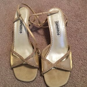 Caparros Shoes - Gold heels slightly over an inch heel