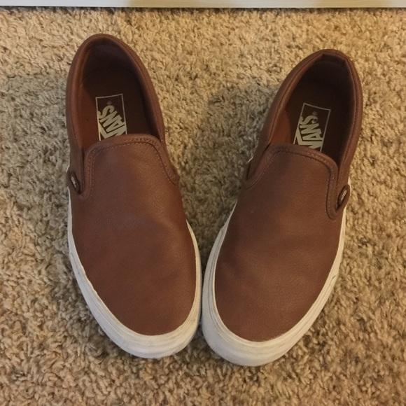 vans leather slip on brown