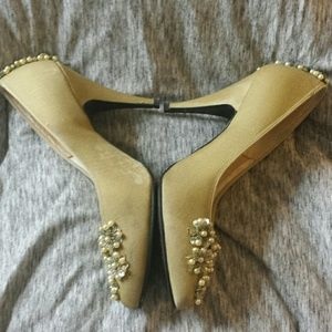 Vintage Shoes - Vintage Handmade Wedding Heels with Pearl Detail