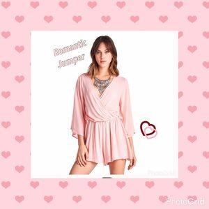 Pants - Romantic Wide sleeve pinky Peach romper NWT