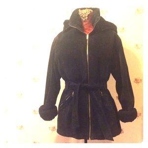 Wilsons Leather Jackets & Blazers - Wilson WARM black suede hooded fleece-lined jacket