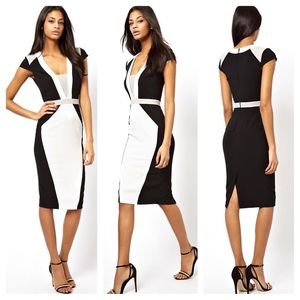 ASOS Structured Pencil Dress in Color Block