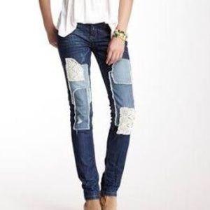 Free People Denim - Free people patch skinny jeans