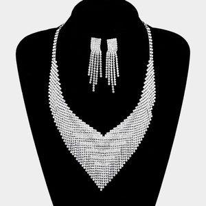 Bling V-Collar Necklace + Earring Set