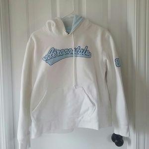 Aeropostale Tops - Aeropostale white hoodie sweatshirt