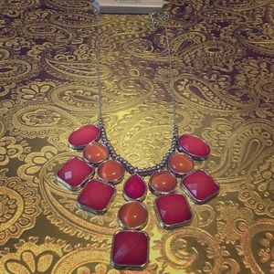Bnwt Coral orange and silver statement necklace