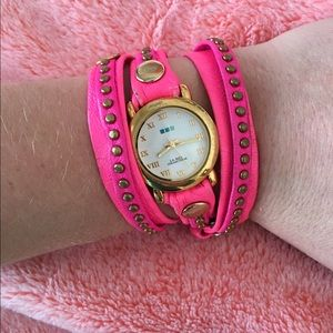 La Mer hot pink studded wrap watch