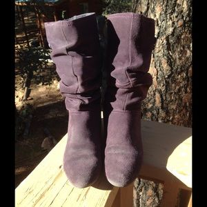 Purple Suede Slouch Boots