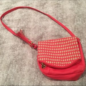 Leather Coral and Taupe Crossbody bag