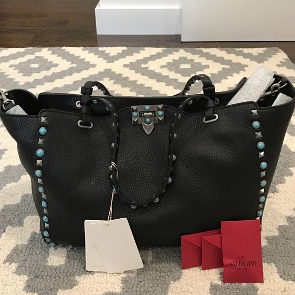 e4633370ed7 Valentino rockstud medium turquoise studs tote bag.  M_586a8f172599fe457200c329