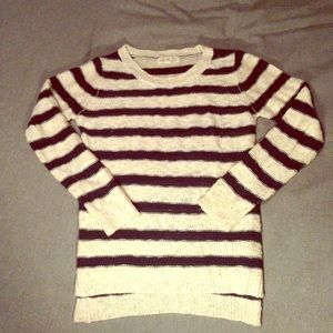 Pink Rose Sweaters - Creme & Navy Striped Crew Neck Sweater