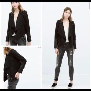 ZARA Trafaluc Flared jacket faux leather sleeves