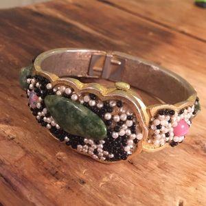 Boho vintage beaded bracelet watch agate faux opal
