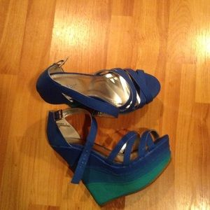 Blue and green wedge sandals