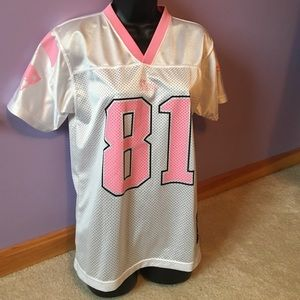 6e39cd507 Reebok Shirts   Tops - Pink   White Patriots Throwback Jersey Randy Moss