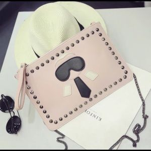 Handbags - Pink leather little man stud clutch cross body bag