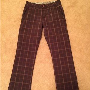 Brown Plaid Hurley Pants