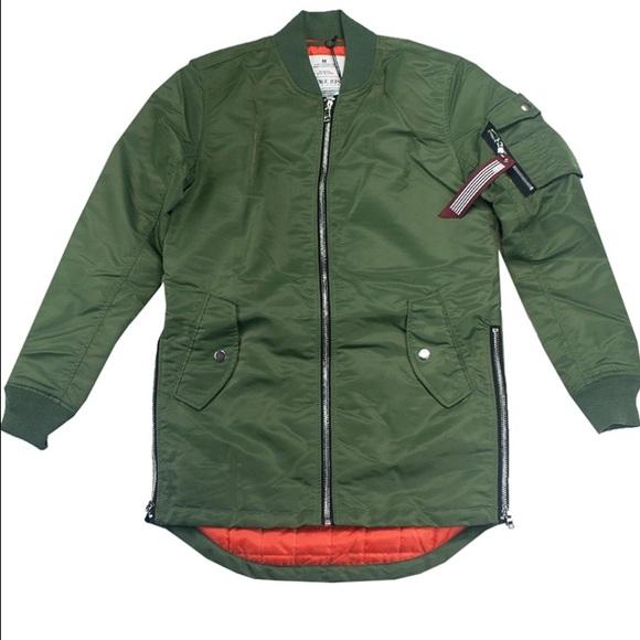 Men s Nylon Side Zip Longline Bomber Jacket fb795a5d59