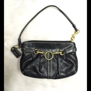 COACH black leather pouch wristlet in EUC! OBO