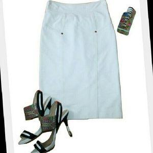 Diane von Furstenberg Dresses & Skirts - DVF Cougarette Denim White Ponte Knit Pencil Skirt