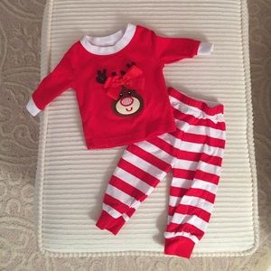 d2cabd6545 Smocked Auctions Pajamas - Classic Whimsy Smocked Reindeer loungewear