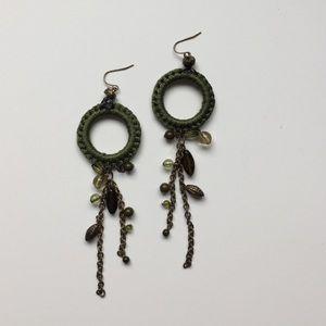 Jewelry - Green Hoop Dangle Earrings