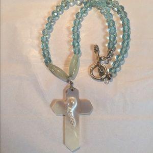 Jewelry - Blue bead cross necklace