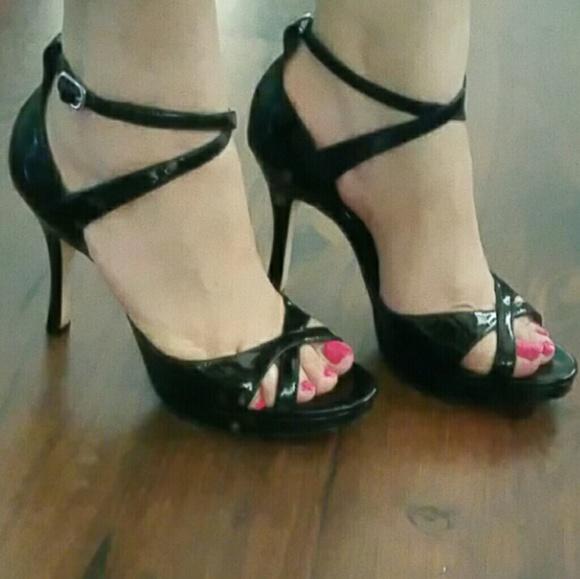 a0667c0fff4e White House Black Market Patent strappy heels. M 59b6cc584127d0585a0948eb