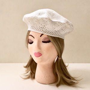 Accessories - White Cotton Crochet Beret❤