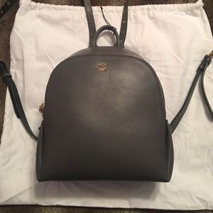 MCM Mono Gray Mini Duchess Polke Studs Backpack