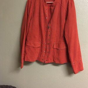 Jackets & Blazers - Cato Faux Suede Zippered Jacket Burnt Orange Sz XL