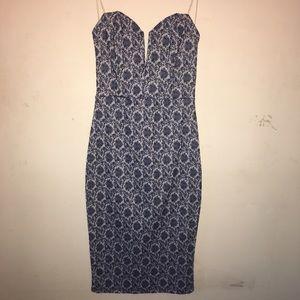 Strapless plunging neck midi dress