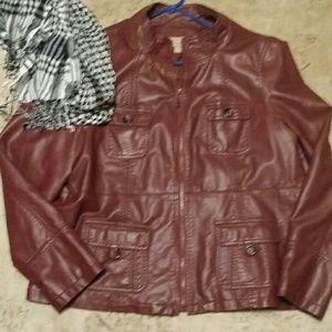 Jackets & Blazers - SALE!!!!!Oxblood Faux Leather Jacket !