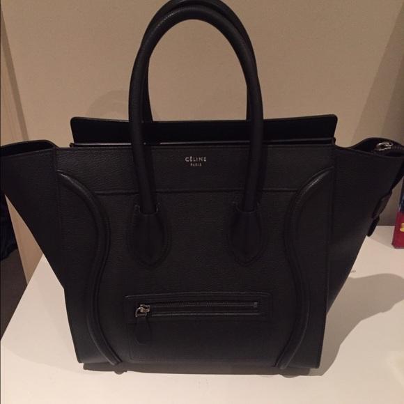 Celine mini luggage tote in Black drummed calfskin NWT a5f536c1dbdf8