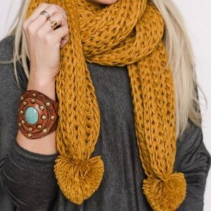 Three Bird Nest Accessories - 1 day sale💞Mustard Pom Knit Scarf