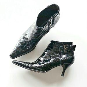 Donald J. Pliner Shoes - Donald J Pliner Loni Croc Textured Black Booties