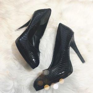 Lauren Ralph Lauren Shoes - Ralph Lauren Black Snake Embossed Pumps