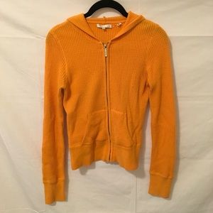 Vince Orange Thermal Waffle Zip Up Hooded Sweater