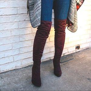 Unisa Saranaa Over The Knee Burgundy Boot