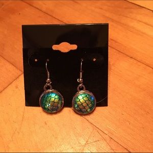 Handmade Jewelry - Iridescent green mermaid scale earrings