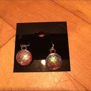 Handmade Jewelry - Iridescent red mermaid scale earrings