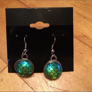 Handmade Jewelry - Iridescent blue mermaid scale earrings